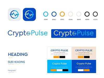 Crypto Pulse cryptopulse crypto typography color combination branding flat iconic logo logo design