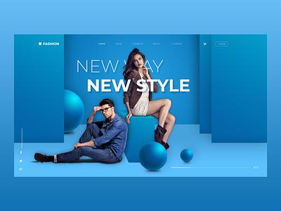 Fashion Web UI/UX wireframe flat web design 3d typography design art new style slider home ux web ui