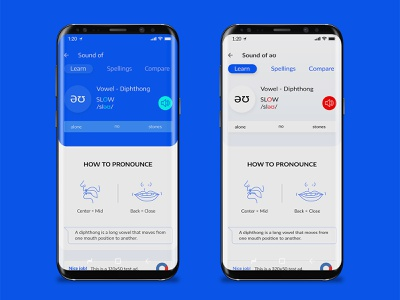 Pronunciation App UI spellings app design android app ui pronounce vowel sound app ux app ui