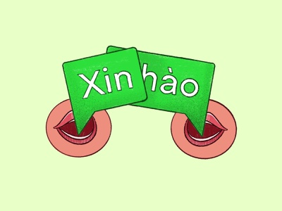 (Xin Chao)(你好)(Hello) illustration