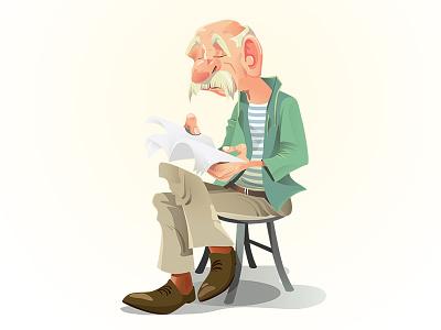 Gaffer oldman character vector illustration