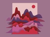 Mountain landscape pink mood