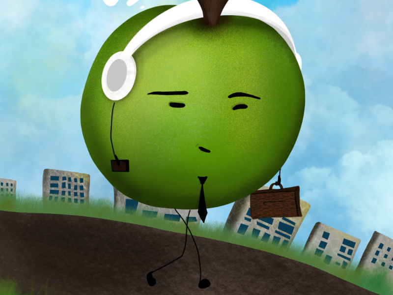 Apple working time lights hero second road thoughts clouds walking green time working apple illustration