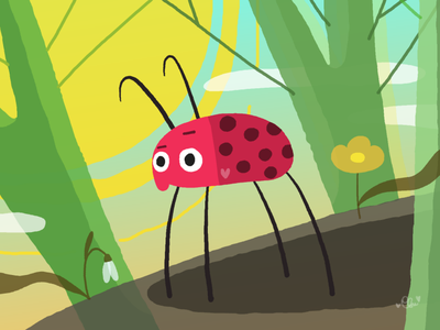 February Haiku sun flower forest ladybug cartoon design illustration