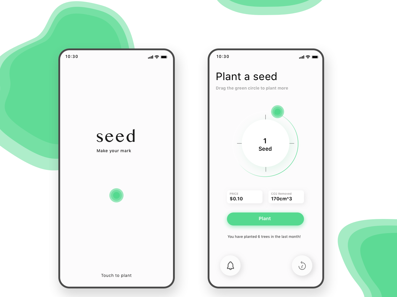 Plant a seed ux design sydney ui deisgn plant design environment  green iphone app iphone ios 10 earthday app  design ux  ui minimal ecofriendly app green environment