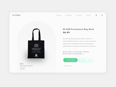 Ecobags retail website web design uiuxdesigner clean design clean ui minimal biodegradable bag shop uidesign ui  ux uxd ui environment  green ecofriendly earthday environment design