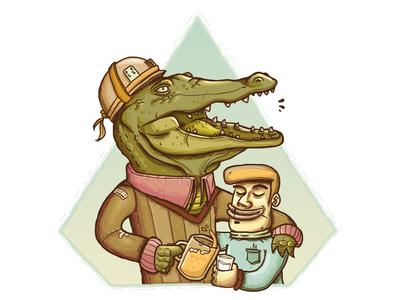 Croc Beer Friends vector illustration design characterdesign character