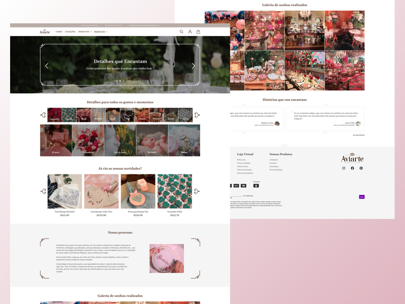 Aviarte - Desktop debut wedding party party decoration brasil webdesign e-commerce