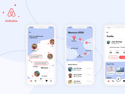 AirBubble: AirBnb's Travel Sharing App airbnb creative jam adobe xd profile planning map travel explore app design ux ui mobile screen app