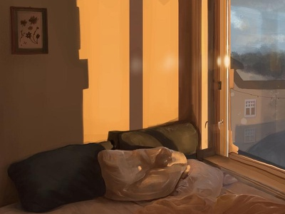 Bedroom Lighting Study #1 bedroom design bedroom decor illustration adobe procreate painting lighting bedroom