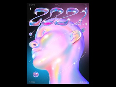 Chrome Type Poster rendering 3d 2021 font type design chrome type poster design poster visual design drawing portrait girl graphic design illustration digital painting procreate digital