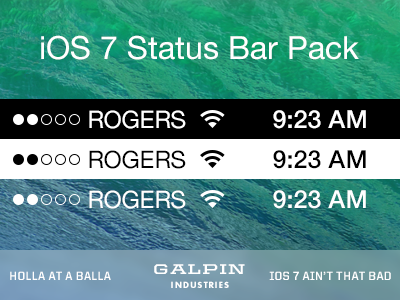 Download ios 7 status bar pack by tyler galpin dribbble fully vector status bars comin right atcha altavistaventures Choice Image