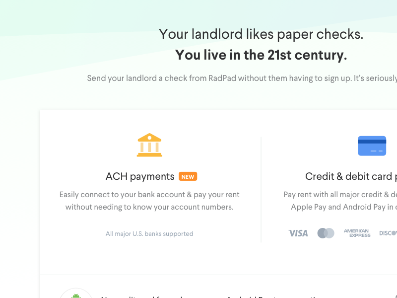 Pay rent with RadPad by Tyler Galpin on Dribbble