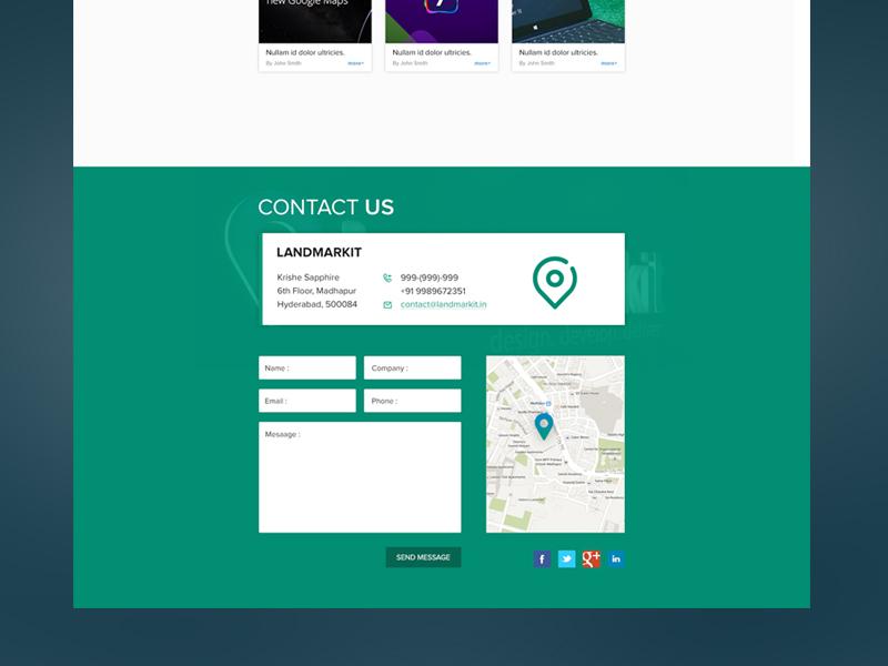 "Contact Us ""Flat"" flat contact us contact us green location landmark simple clean"