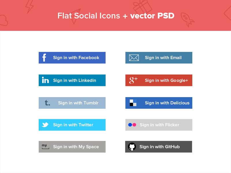 Flat Social media Icons + Vector PSD psd flat icons social media vector colours buttons