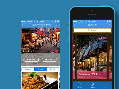 Restaurant App - iOS7 ios ios7 restaurants app blue street flat iphone5c 5c pink bahamas