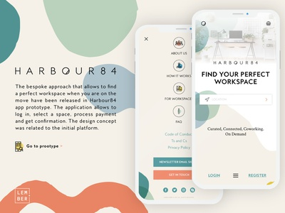 Harbour84 - Workspace Booking Application mobile app design app design prototype prototyping ui design uiux