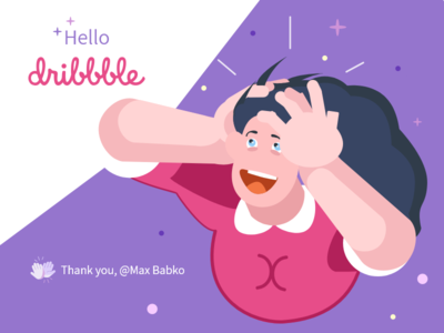 Hello Dribble minimal flat ui branding web illustration design vector personage art first shoot hello dribble