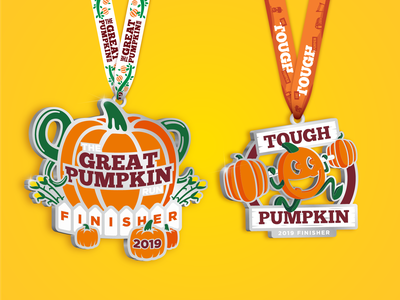 Great Pumpkin Run :: 2019 Medals character run fall pumpkin illustration medals 5k race branding