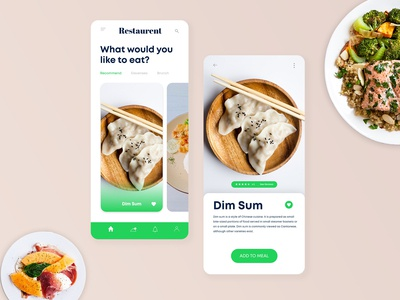 Simple concept for restaurant menu mobile app UI