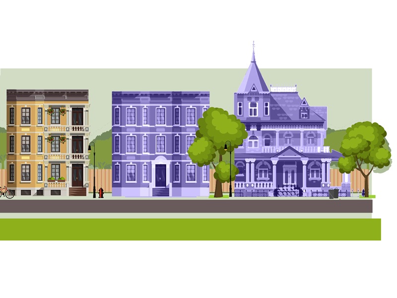 Da Hood victorian new england town buildings nature landscape city suburbs graphic footer