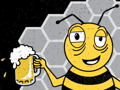 Honey Beer Shirt in progress detail illustration tshirt