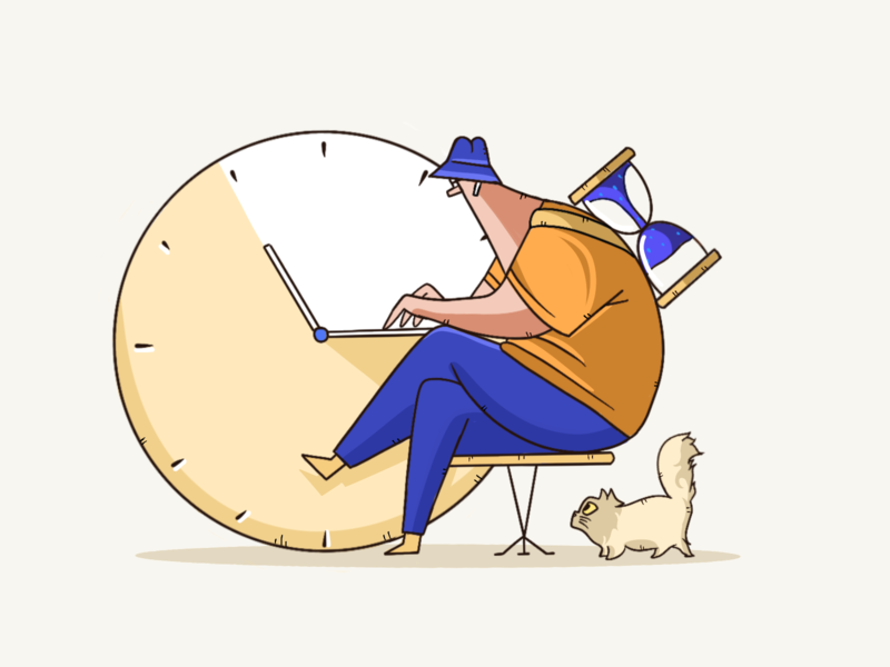 Race against time cat times workerman worker design art vector illustration illustrator artworking