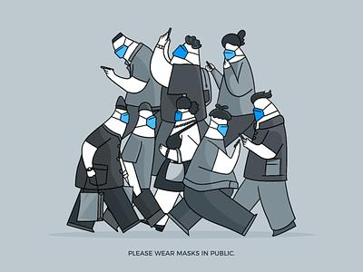Wear Masks busy gray graphics public radesign man color art blue wear masks vector illustration illustrator design artworking