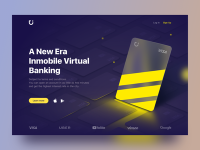 Virtual bank — Websites ux account visa fintech branding finance graphic bankingapp product design banking visualization dashboard virtual card vector ui  ux card debit card dark mode activity webdesign website