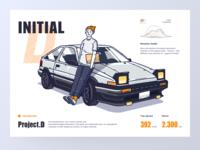 initial D driving auto concept speed graphic design tofu shop ae86 data visualization websites racing vector flat artwork initial d car illustration uiux artworking