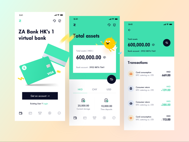 ZA Bank - Virtual bank uiux debit card transfers balance wallet product design money finance fintech app banking transactions icon radesign account art branding illustration vector