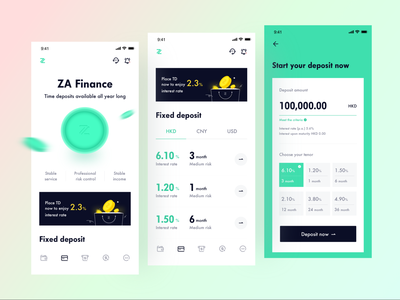 ZA Bank - Virtual bank - Fixed page bank app wallet transters transactions radesign fintech money branding design balance account finance coin product design ux vector ui branding illustration artworking