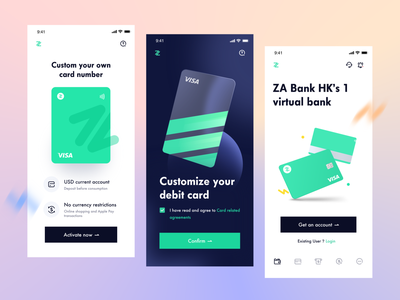 ZA Bank - Virtual bank - Debit card bank wallet mobile money pay payment transaction uiux productdesign finance virtual bank account fintech debit card card balance technology graphic product app