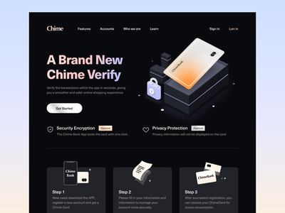 Chime Bank - Registration process landing page pay money app transition wallet typography illustraion payment dark mode uiux landingpage banking website fintech creditcard productdesign finance financial services visualidentity mobile mobile ui