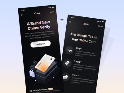 Chime Bank - Registration process mobile app virtual bank figma visual identity financial services finance productdesign creditcard fintech mobile banking landingpage uiux dark mode payment illustration typograhy wallet transition money app pay