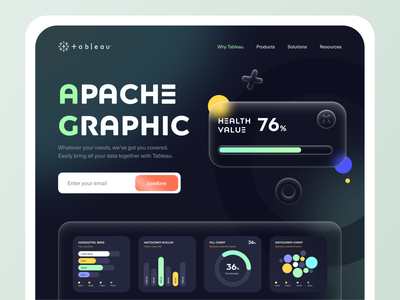 Tableau - visual analytics platform redesign course visualization app design darkmode colorful shadows interface dashboad digital project agency landingpage website branding uiux illustration ui design artworking vector