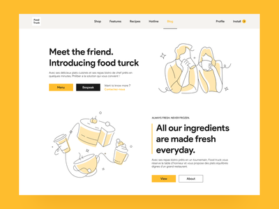 Food truck -  food ordering platform landing page mobile app illustraion yellow figma activity uiux web productdesign food food service food delivery delicious website interface ordering restaurant health