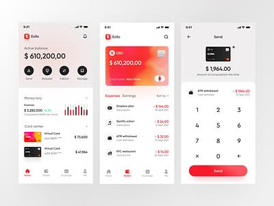 Eollo virtual bank - Tab page design money ui graphic design branding bank finance uiux vector card cread card virtual bank digitizing course account mobile