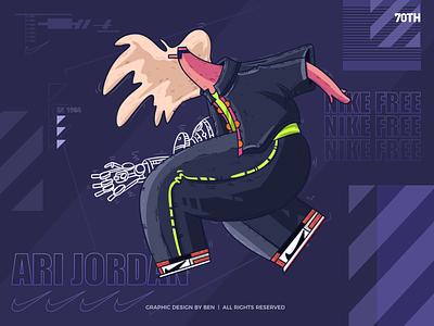 Hot teenager sports standing robot abstract man animal nike free air jordan1 air jordan nike purple color art logo animation design illistration artworking