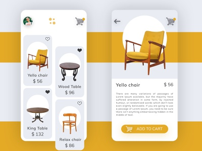 Furniture Shopping App Concept add to cart cart add shopping bag shopping profile sofa table chair application development application design application ui application furniture app ux ui design dribbble specscale
