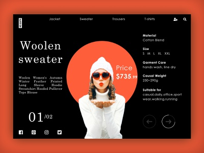 Wiinter Cloth Purchase page... search ladies shopping bag shopping ecommerce price material size wear sweater winter cloth winter logo typography web ux ui design dribbble specscale