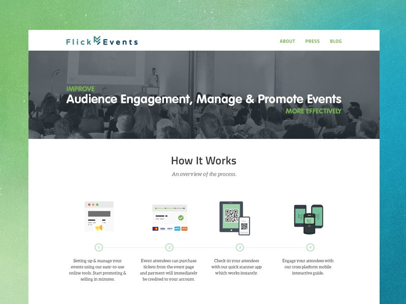 Final web design landing page events branding
