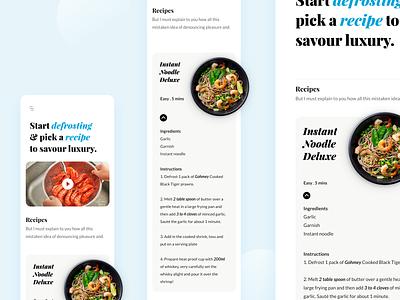 Recipe One Page Design food xd minimalist mobilefirst ui lato playfair display one page recipe responsive