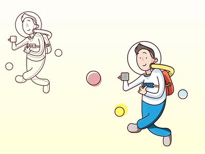 space-lancer sketch vector design illustration