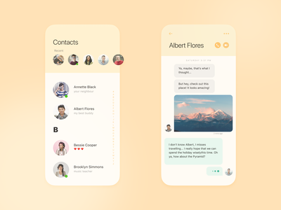 Contacts mobile app minimal exploration concept figma ios ux ui mobile