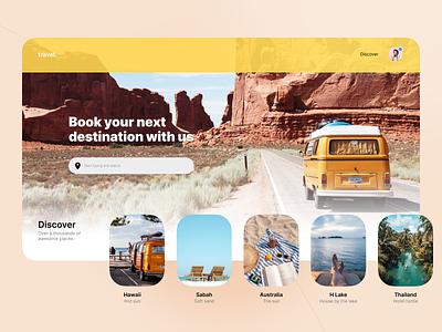 Landing Page ui design exploration web design website figma travel dailyui landing page