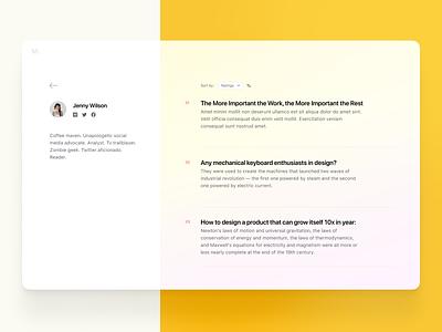Author Page user interface figma magazine webdesign minimal design ui user profile dailyui