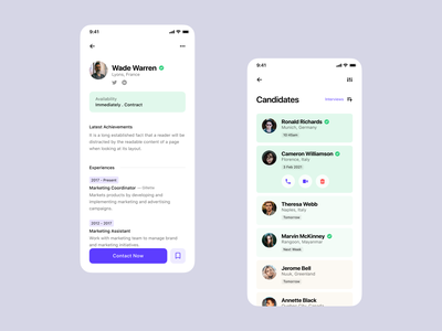 Job Board - Profile & Candidate List mobile app figma freelance ux design ui design listing board job uidesign app ios mobile job listing job board