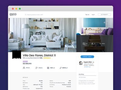 Listing Page Final listing page sketch web app startup real estate
