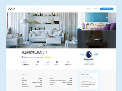 Exploring Listing Page listing page sketch web app startup real estate